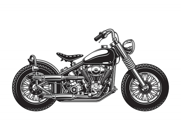 Vintage chopper motorcycle side view template Free Vector