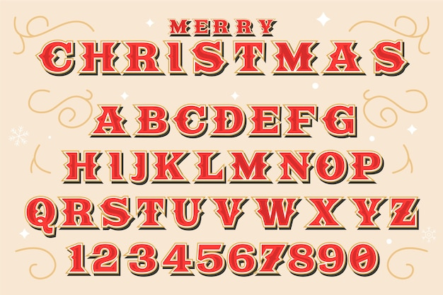 Vintage christmas alphabet illustration Free Vector