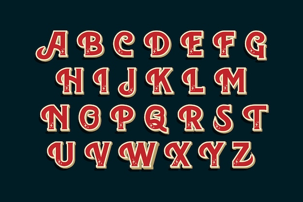 Vintage christmas alphabet pack Free Vector