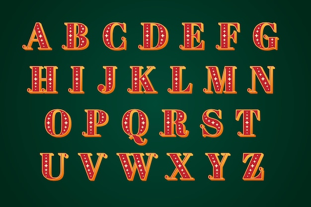 Alfabeto di natale vintage Vettore gratuito