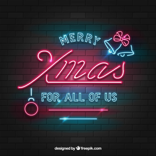 Vintage Christmas Background Of Neon Lights Free Vector