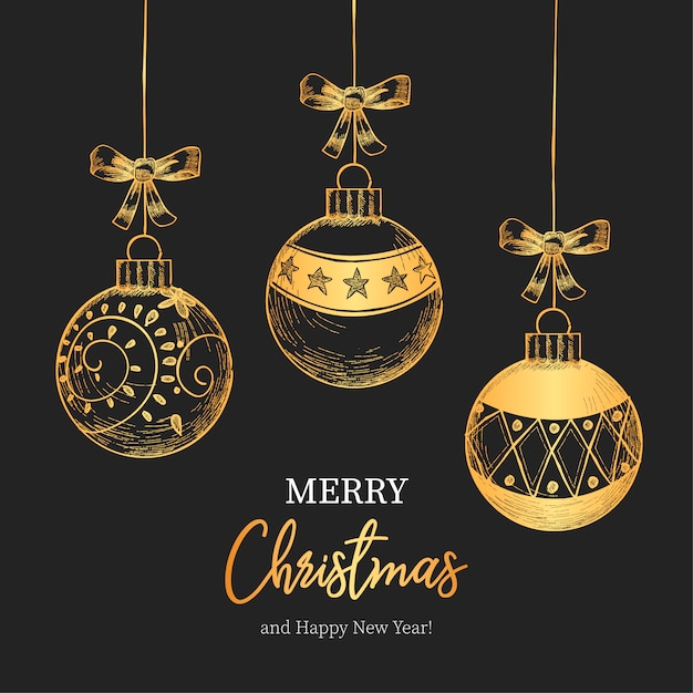 Vintage Christmas Background with Beautiful Christmas Balls Free Vector