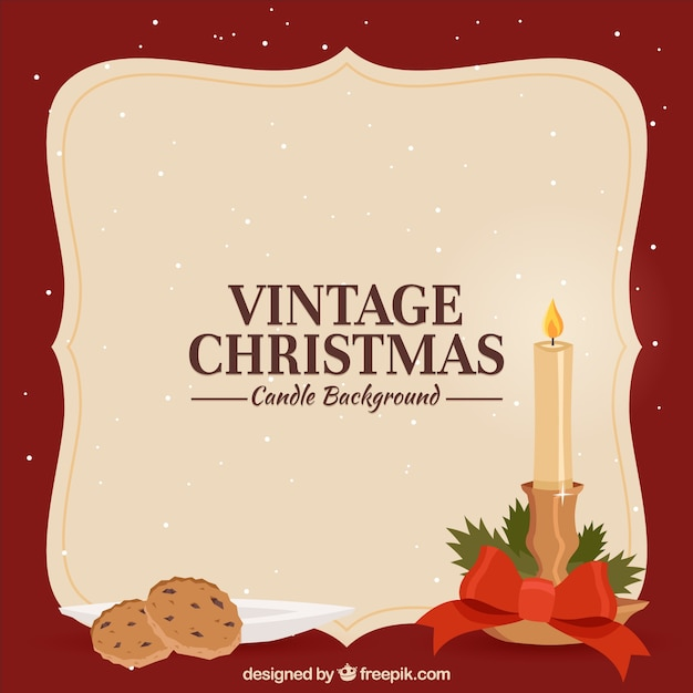 Vintage Christmas Candles.Vintage Christmas Background With A Candles And Cookies