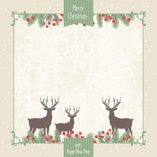 Vintage christmas background with reindeers Vector | Free ...