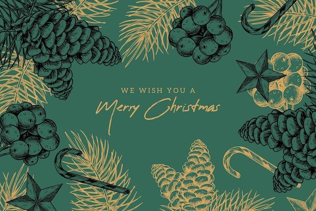 ヴィンテージのクリスマスの背景 無料ベクター