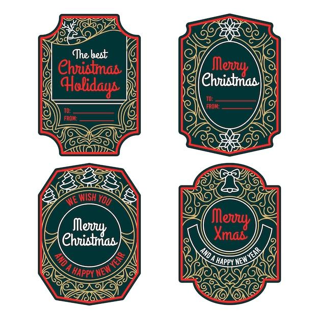 Коллекция старинных рождественских значков Бесплатные векторы