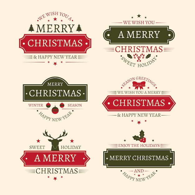 Vintage christmas badge collection Free Vector