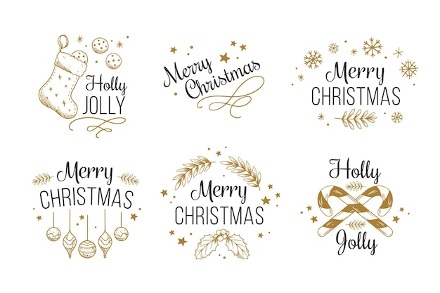 Vintage christmas badge collection Premium Vector