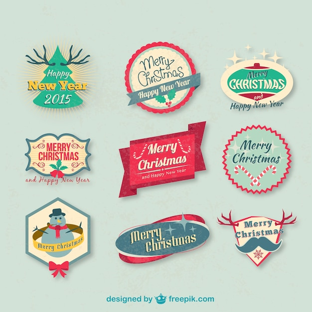 Vintage Christmas badges pack Free Vector