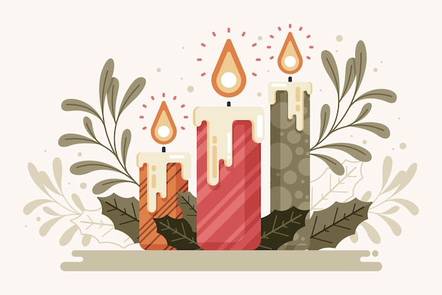 Vintage christmas candle background Free Vector
