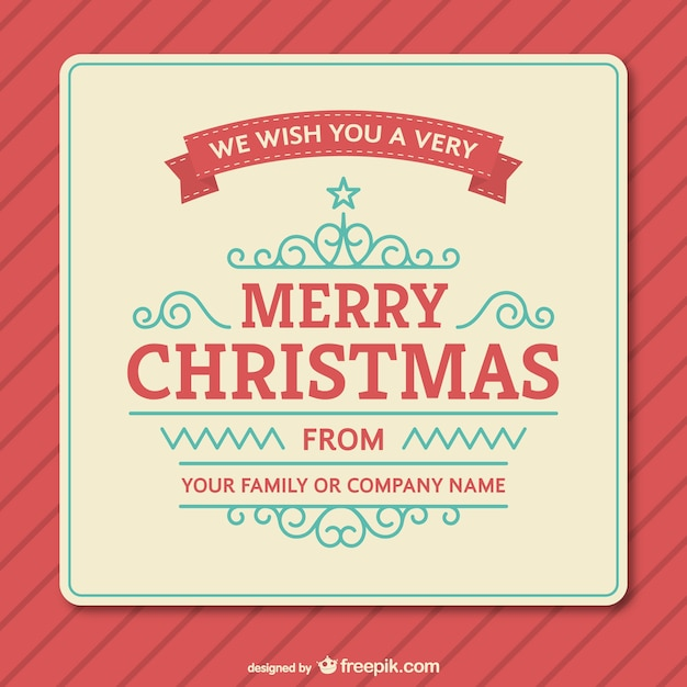 Vintage Christmas Card Template Vector  Free Download