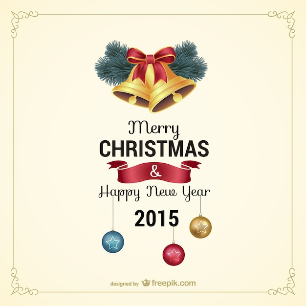 Vintage Christmas card with bells Vector  Free Download