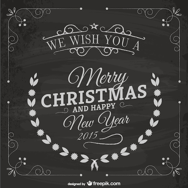 Vintage Christmas Card With Blackboard Texture Free Vector