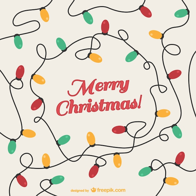 Vintage Christmas Card With Colorful Lights Free Vector
