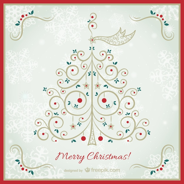 Vintage Christmas card with elegant tree Vector  Free Download