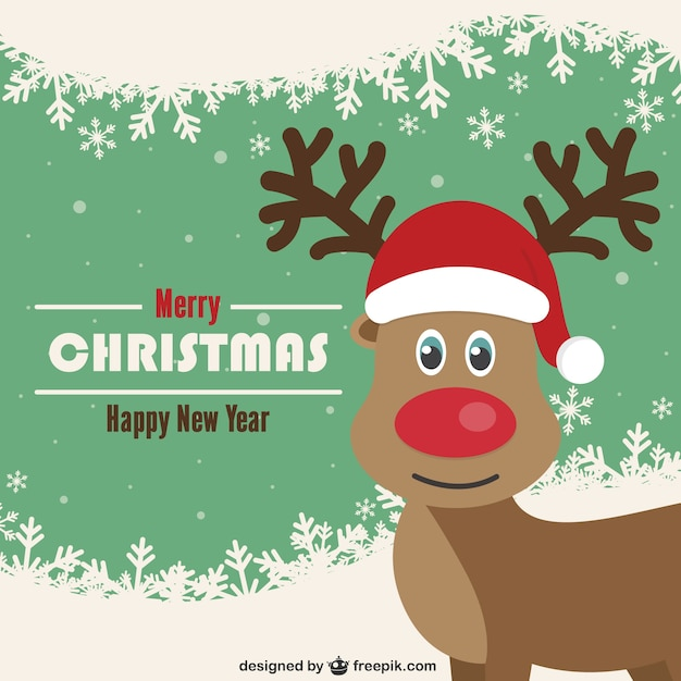 Vintage Christmas card with reindeer Vector  Free Download