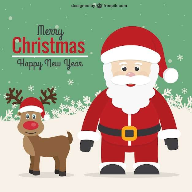 Vintage Christmas Card With Santa And Reindeer Free Vector
