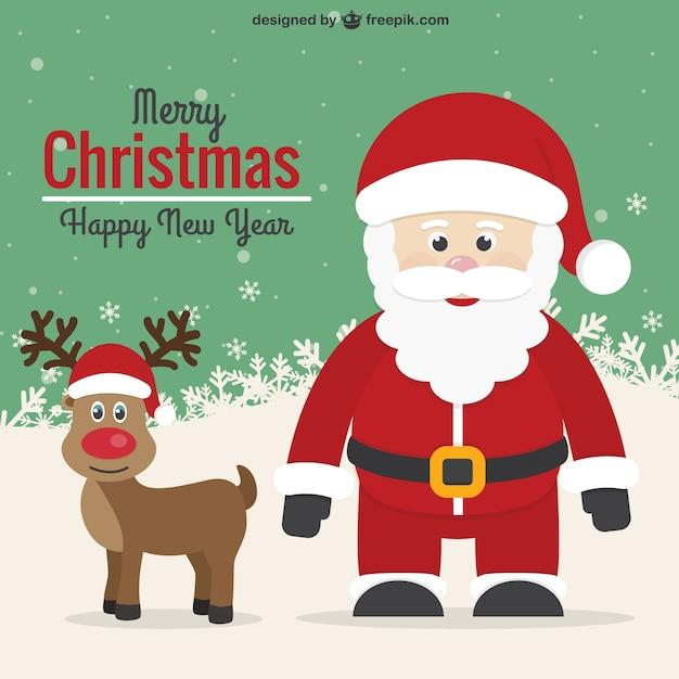 vintage christmas card with santa and reindeer free vector - Christmas Santa Reindeer