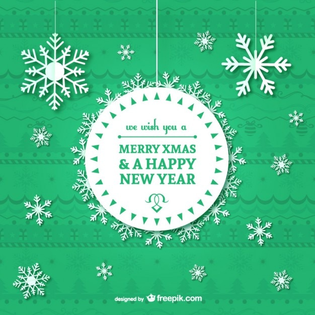 Vintage Christmas card with snowflakes Vector | Free Download