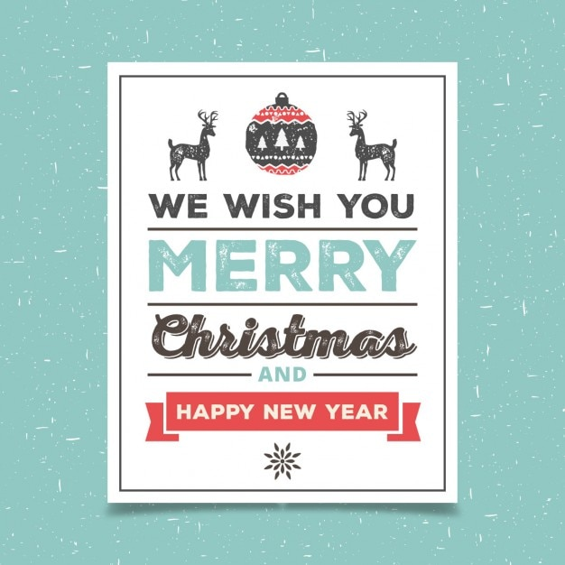 Vintage Christmas card Vector  Free Download