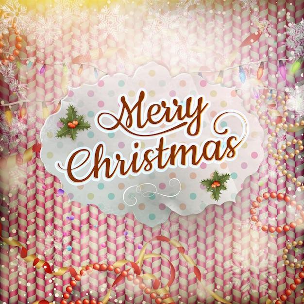 ビンテージクリスマスカード。 Premiumベクター