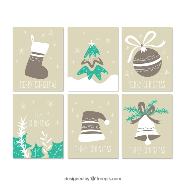 Vintage Christmas Cards Free Vector