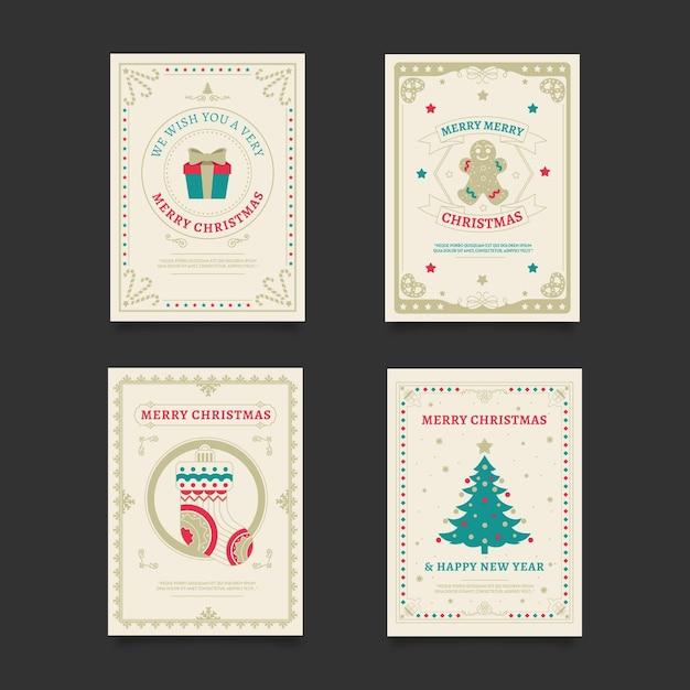 빈티지 크리스마스 카드 무료 벡터
