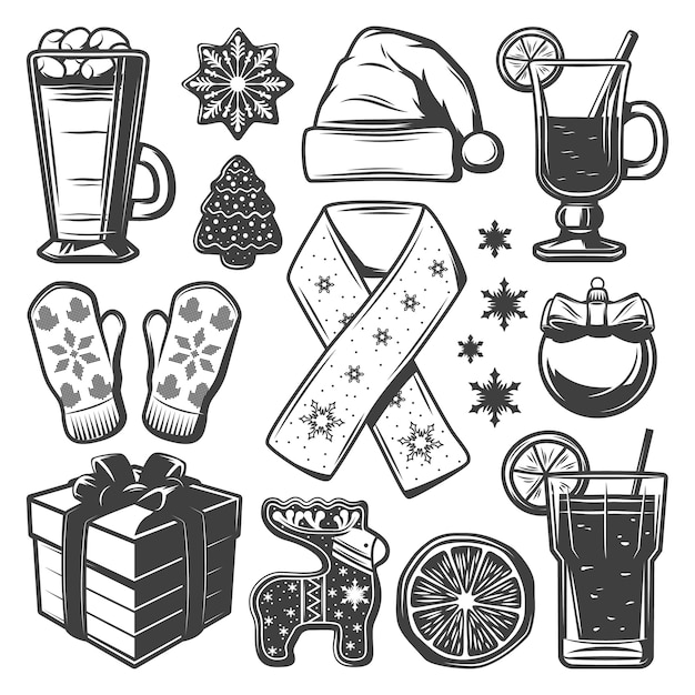 Vintage christmas elements collection with mittens scarf hat beverages cocktails ball ginger cookies present box isolated Free Vector