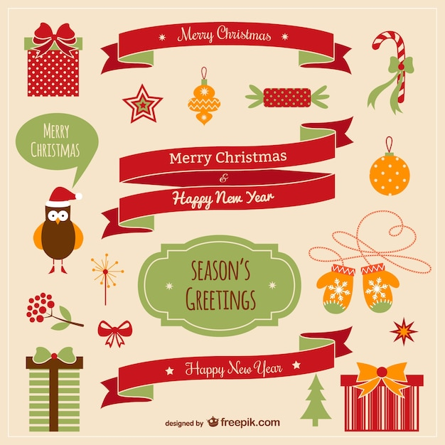 Vintage Christmas elements collection Free Vector