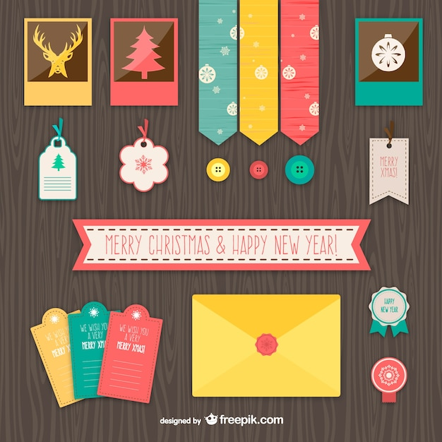 Vintage christmas elements Free Vector