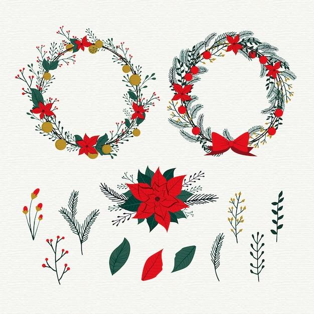 Урожай рождественская коллекция цветов Бесплатные векторы