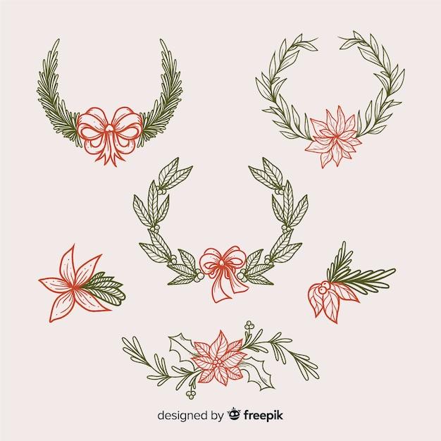 Старинная рождественская коллекция цветов и венков Бесплатные векторы