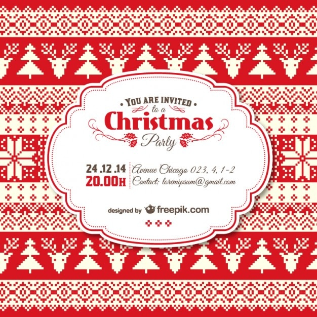 Vintage christmas invitation template vector free download for Free holiday invitation templates