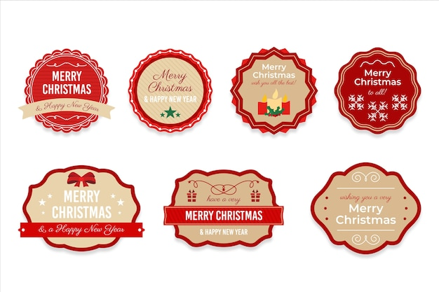 Vintage christmas label collection Free Vector