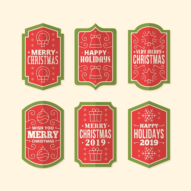 Vintage christmas label pack Free Vector