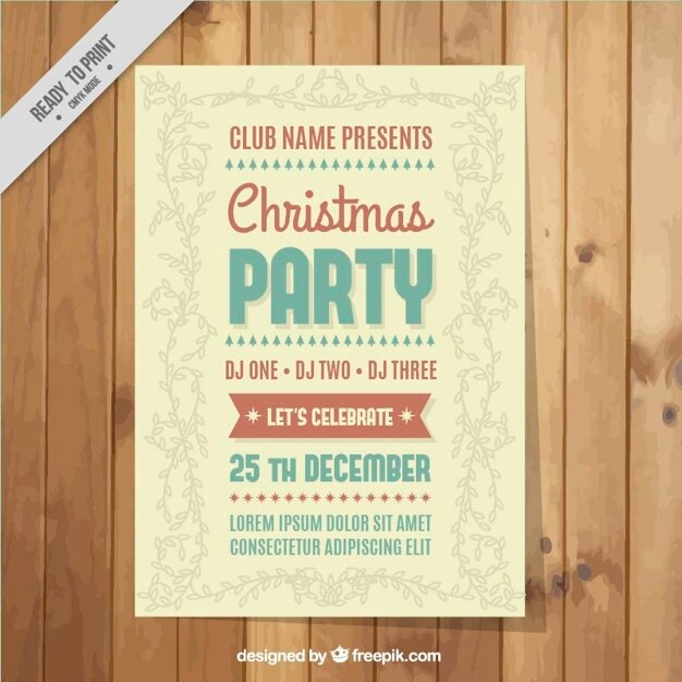 Vintage christmas leaflet with floral decoration Free Vector