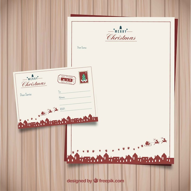 Vintage Christmas Letter Template Free Vector  Christmas Letter Template Free
