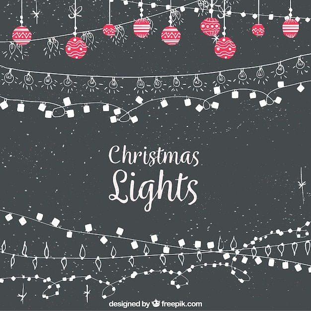Vintage Christmas Lights Background Free Vector