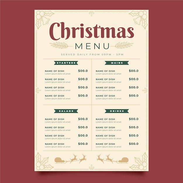 Vintage christmas menu template Free Vector