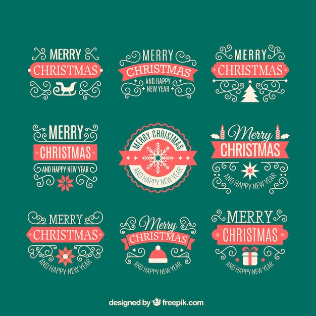 Vintage christmas ornaments pack Free Vector