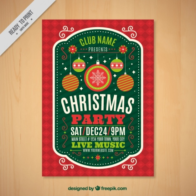 Vintage christmas party brochure Free Vector