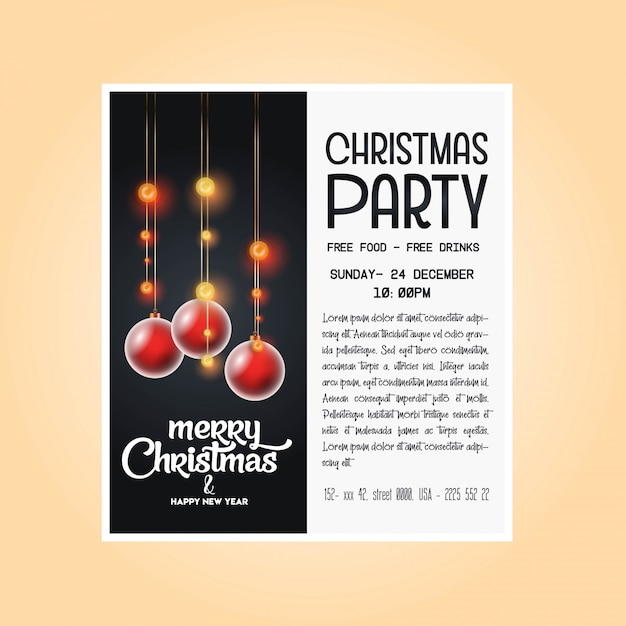 Vintage christmas party flyer template Free Vector