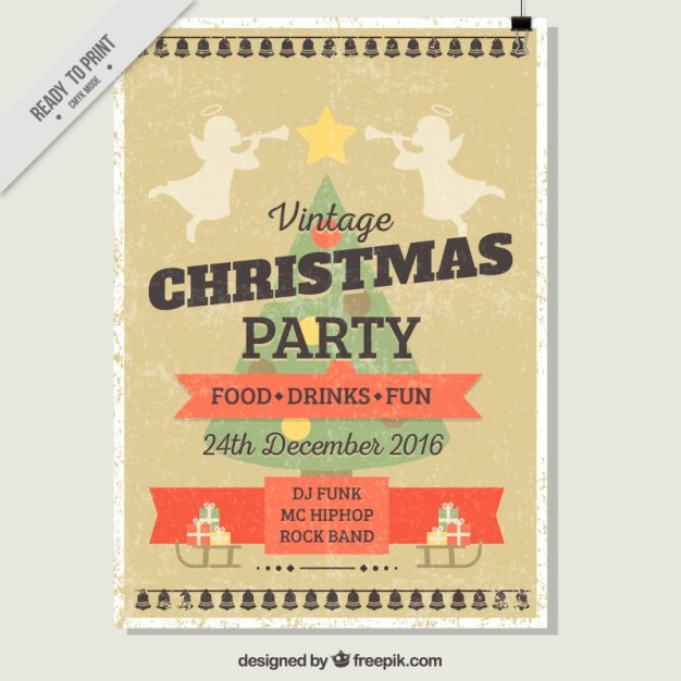 Vintage christmas party flyer Free Vector