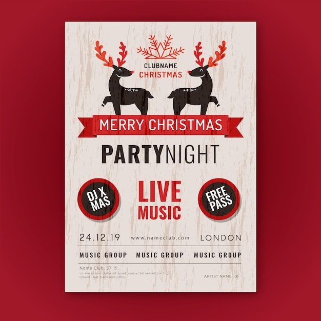 Vintage christmas party poster template Free Vector