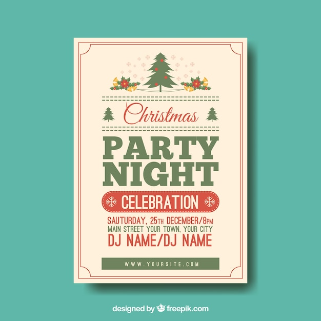 Christmas Party Poster.Vintage Christmas Party Poster Vector Free Download