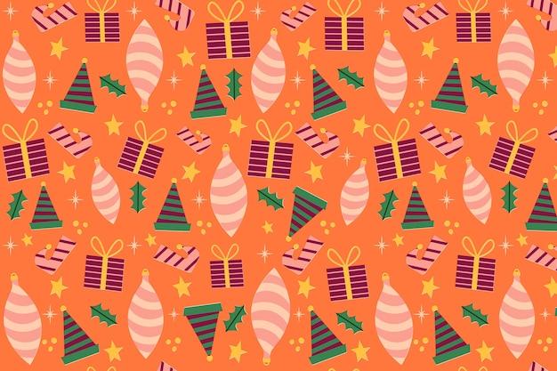 ヴィンテージクリスマスパターンテンプレート 無料ベクター