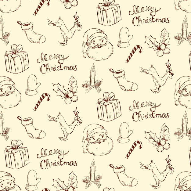 Vintage christmas pattern Free Vector