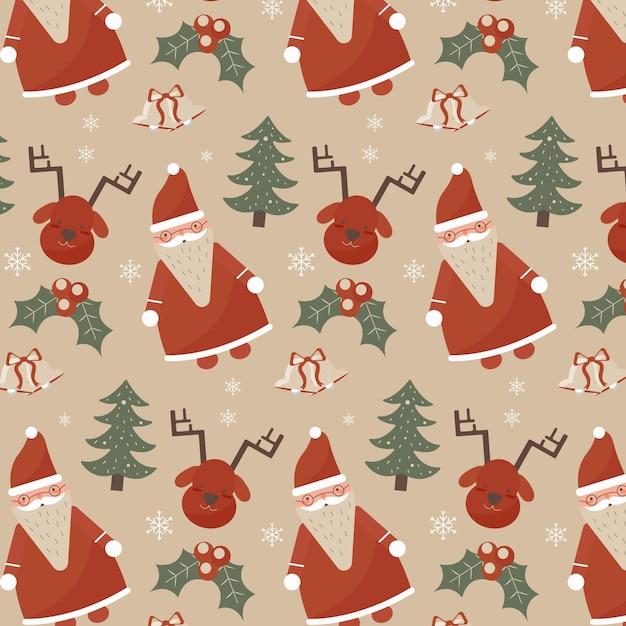Vintage christmas pattern Free Vector