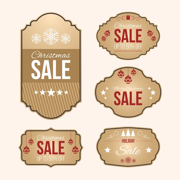 Vintage christmas sale tag collection Free Vector