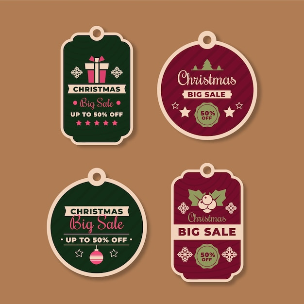 Коллекция старинных рождественских распродаж Бесплатные векторы